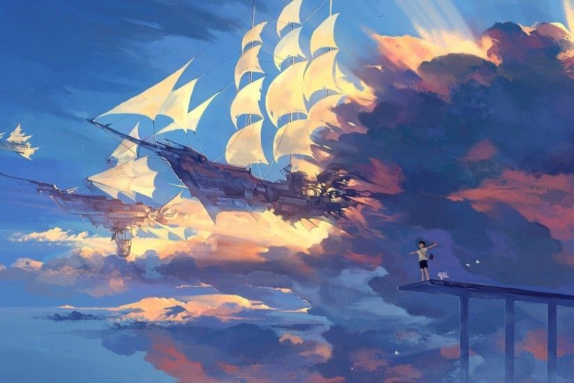 Preview wallpaper hanyijie, sky, scenery, ship, anime, art 1920x1080