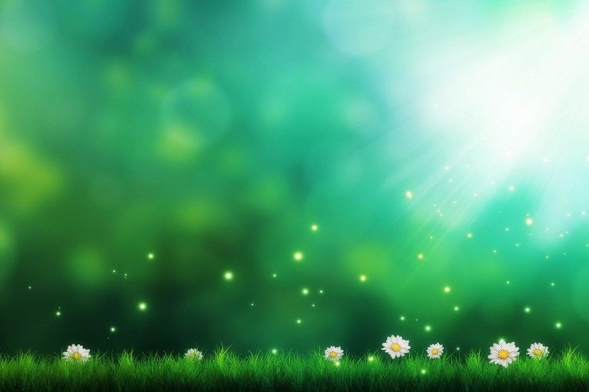 Shiny green flowery plain wallpaper