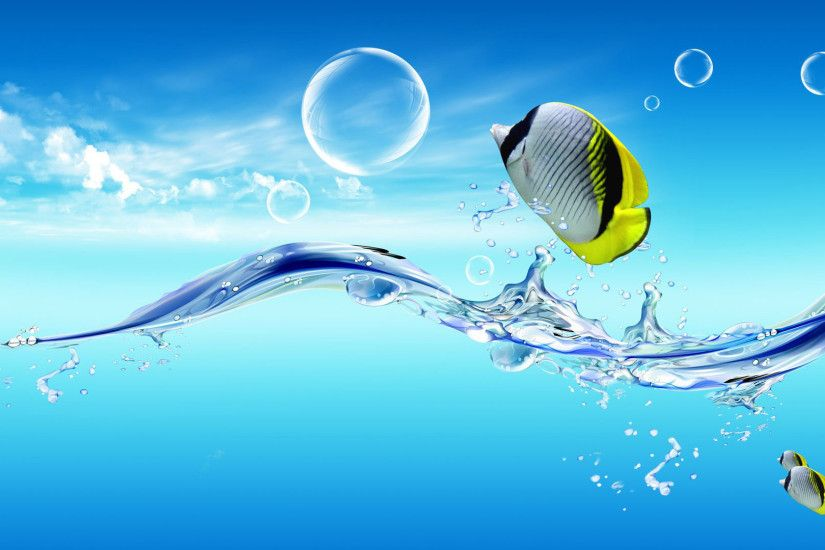 hd pics photos fish jumping water blue desktop background wallpaper