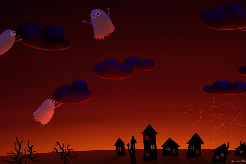 Halloween cute ghosts village for 1920x1080