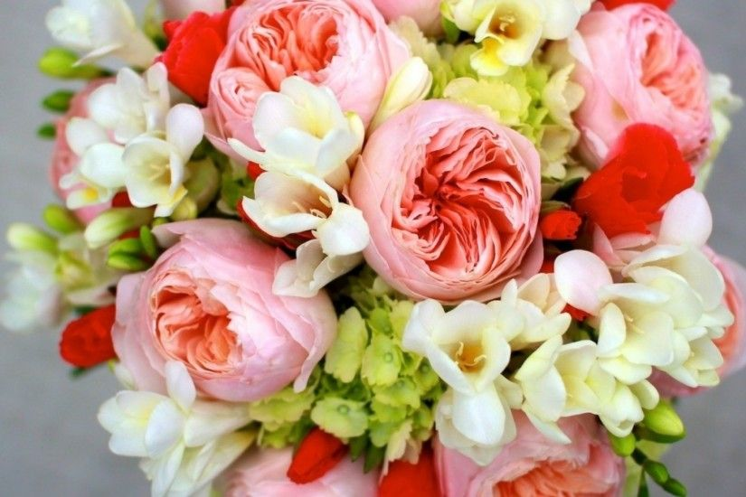 Preview wallpaper peony, freesia, hydrangea bouquet, arrangement, flowers  2048x2048