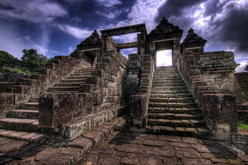 Religious - Ratu Boko Indonesia Java (Indonesia) Prambanan Buddhist Temple  Ruin Archeological Site Stairs