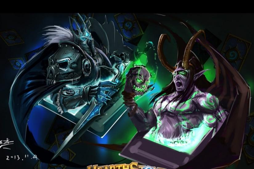Preview wallpaper hearthstone, warcraft, lich king, illidan, art, cards  1920x1080