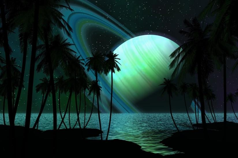 Preview wallpaper saturn, planet, palm trees, sky, light 1920x1080