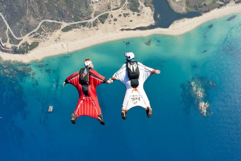 wingsuit formation fs beach sea boat reef river helmet trailers parachute extreme  sports