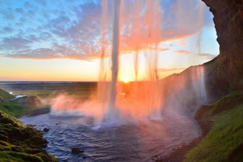 Preview wallpaper waterfall, lake, summer, sunset, grass 1920x1080