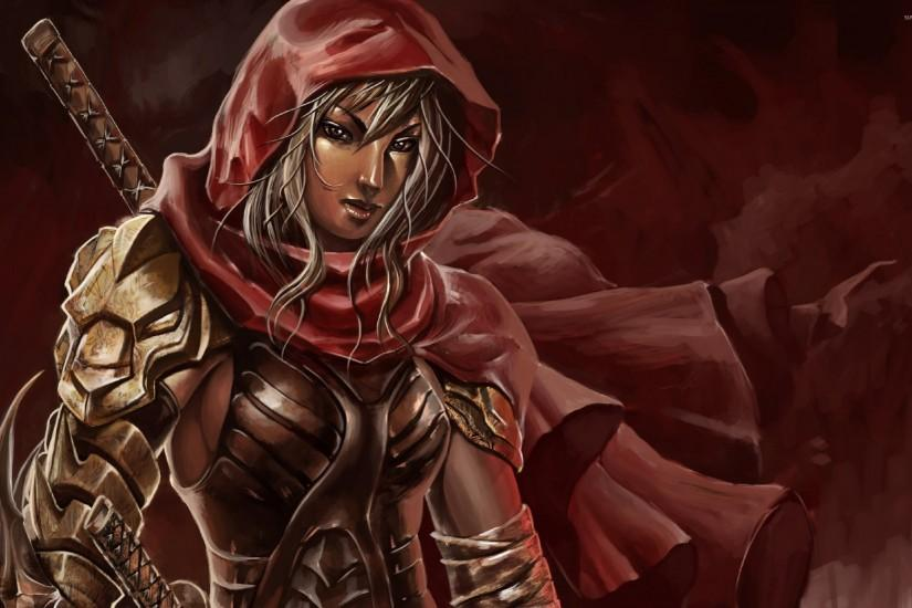 Warrior with a red hood wallpaper