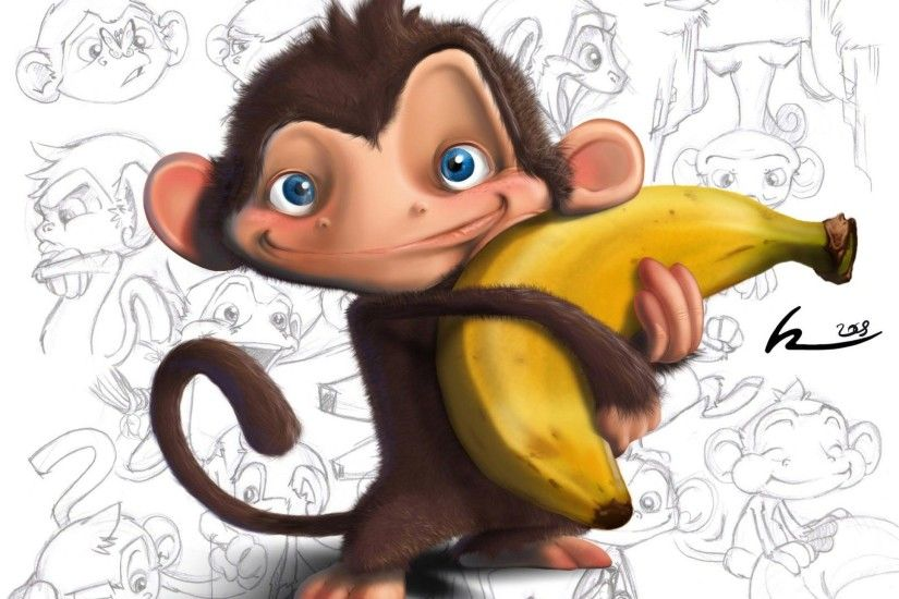 Other: Banana Love Monkey Funny Cartoon Cute Pets Free Wallpapers .