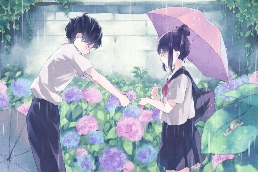 Anime Original Black Hair Boy Girl Rain Romantic School Uniform Umbrella  Wallpaper