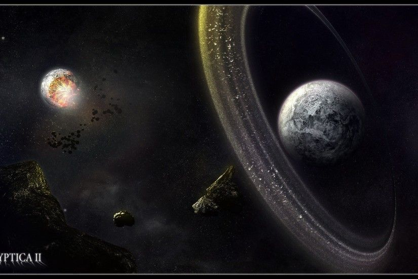 Sci Fi Planetary Ring Asteroid Planet Space Wallpaper