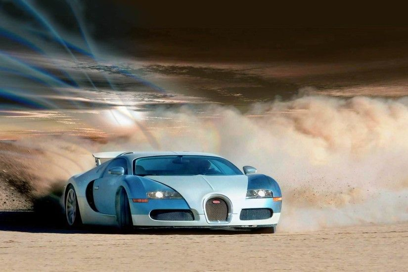 Bugatti Car in Desert Wallpaper