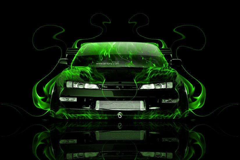 ... Nissan-Silvia-S14-JDM-Front-Green-Fire-Abstract- ...
