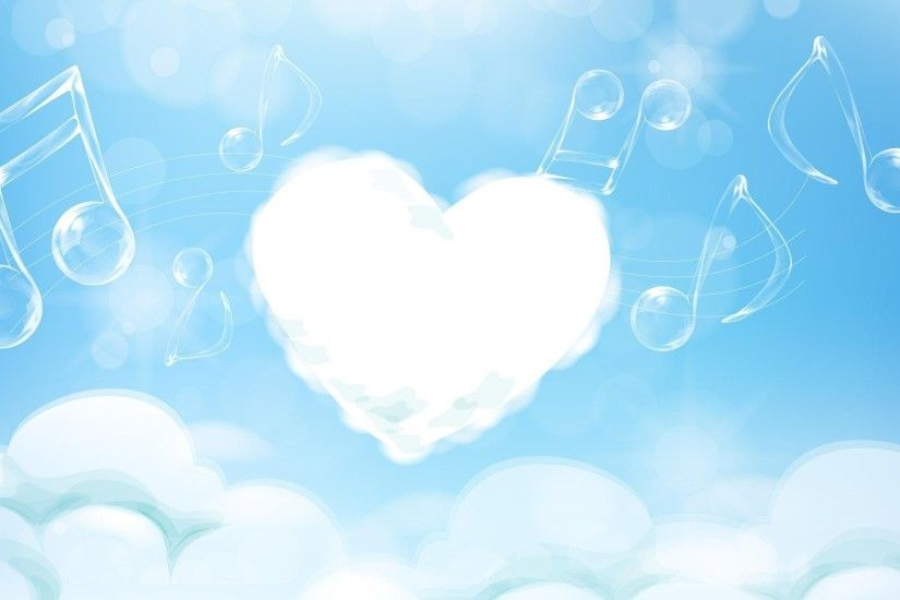 Music melody clouds Backgrounds for Presentation - PPT Backgrounds Templates