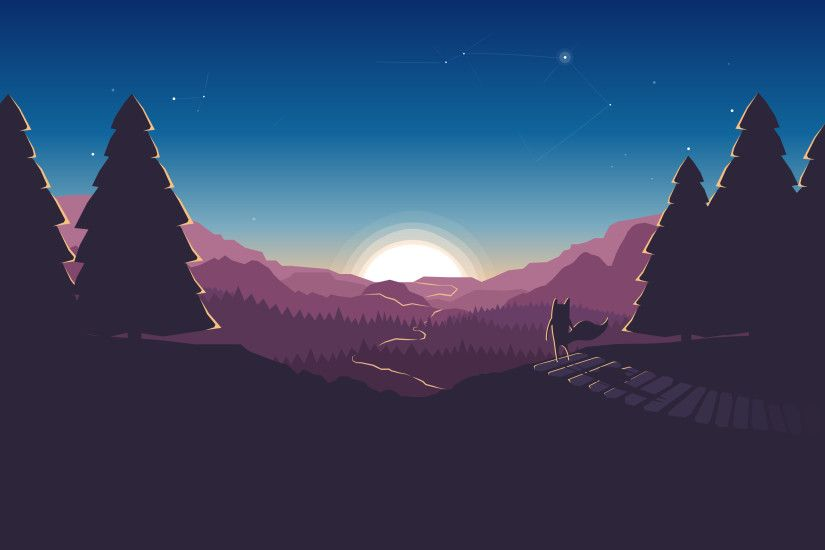 horizon, Minimalism, Illustration, Artwork, Digital art, Forest, Sunset,  Mozilla