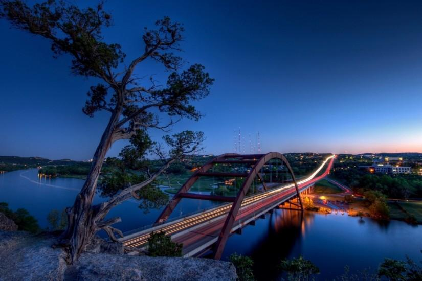 Preview wallpaper texas, austin, pennybacker bridge, hdr 1920x1080