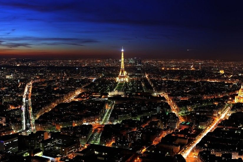 2560x1440 Wallpaper paris, france, night, top view, city lights