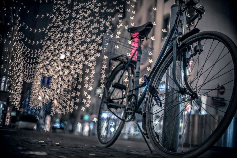 town night street road bike lights bokeh