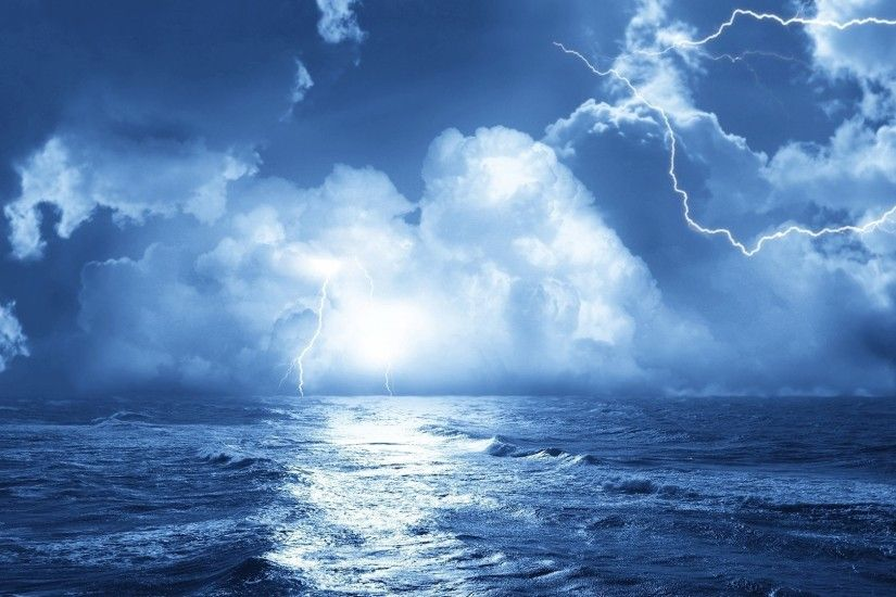 Preview wallpaper lightning, sea, storm, clouds, waves, elements, category  1920x1080