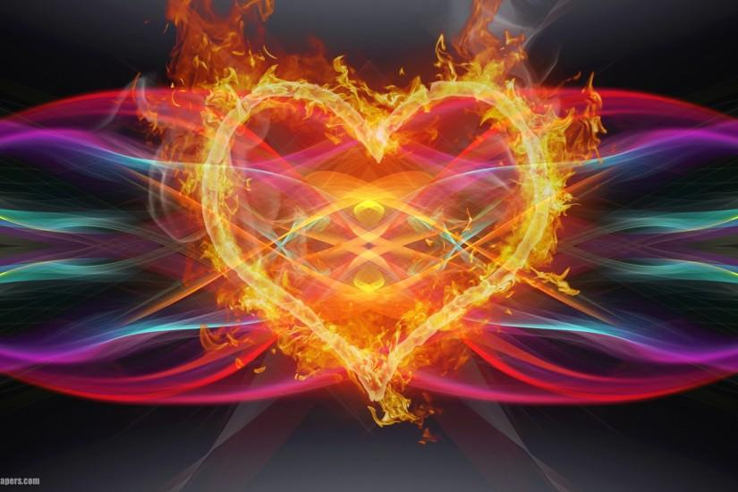 Colorful abstract background with lines and love heart of fire. Very  beautiful abstract wallpaper with fire.