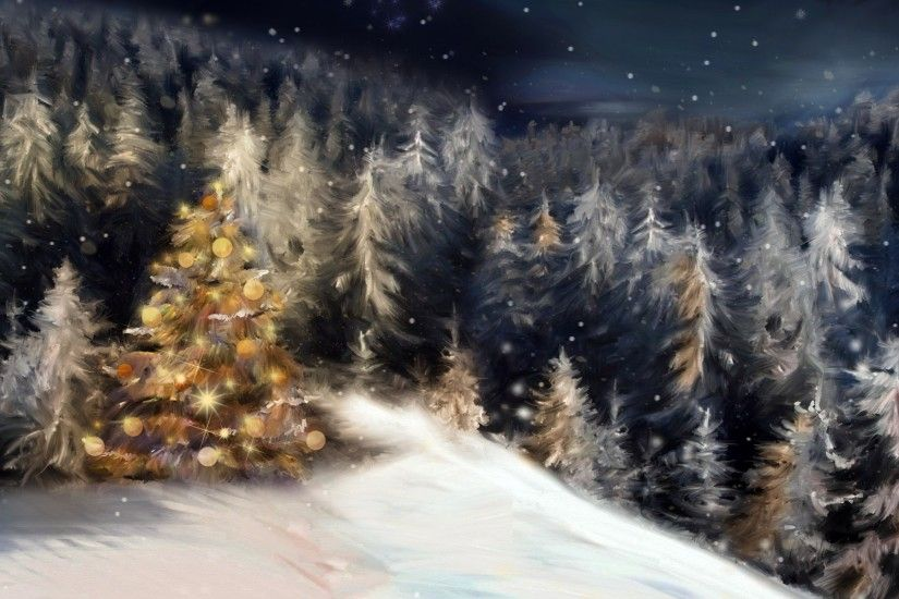 ... hd wallpaper · holidays, painting, Christmas, night, forest, pines, snow,  winter,