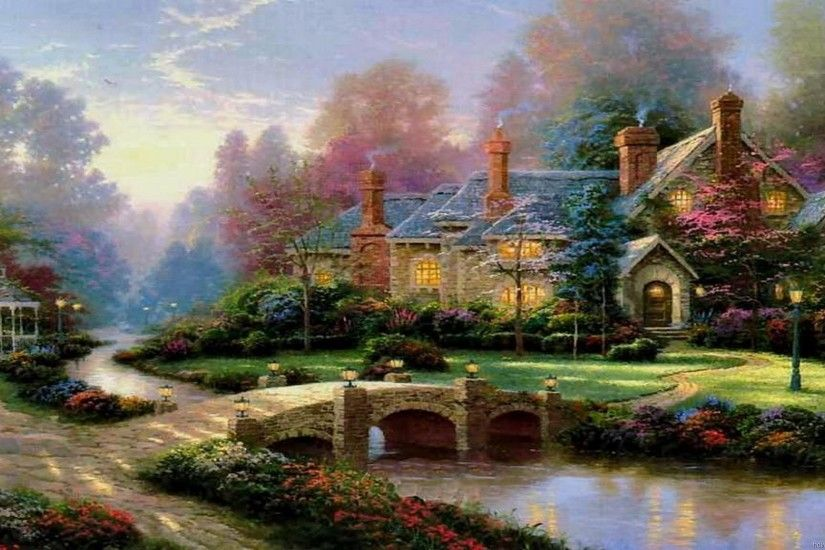 Thomas Kinkade Summer Paintings | Thomas Kinkade Wallpaper, Paintings, Art,  HD, Desktop