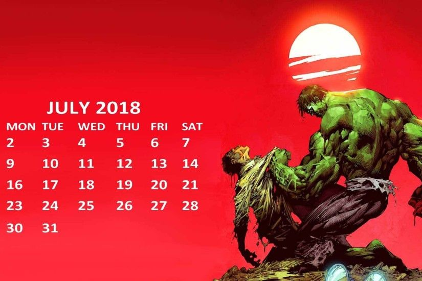 Marvel 2018 Hulk July Calendar