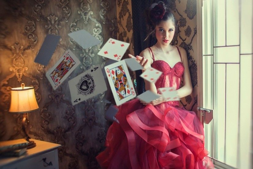 photography red dress room playing cards ace of spades
