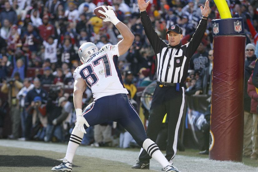 Rob Gronkowski spikes the ball after his touchdown grab.