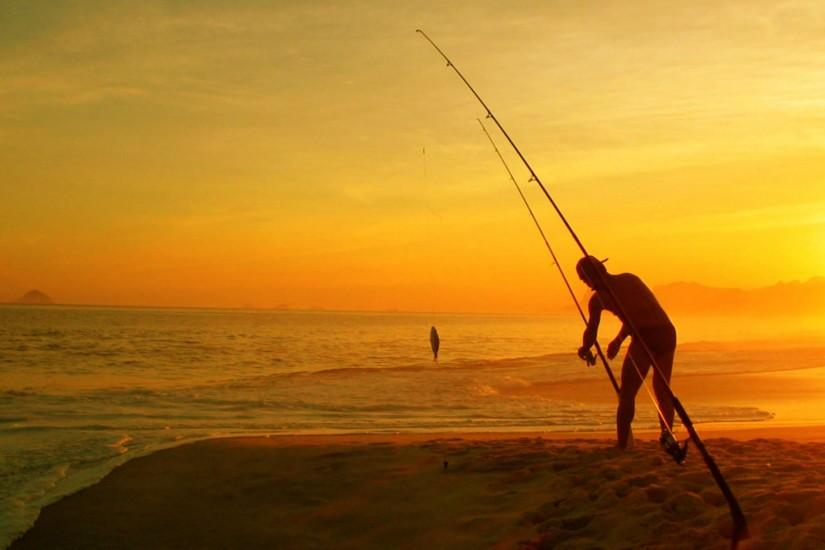 Fishing on Beach Wallpaper Wallpaper