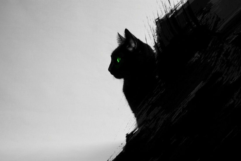 cat, Black Cats, Animals, Green Eyes, Artwork, Digital Art, Black, Gray  Wallpapers HD / Desktop and Mobile Backgrounds