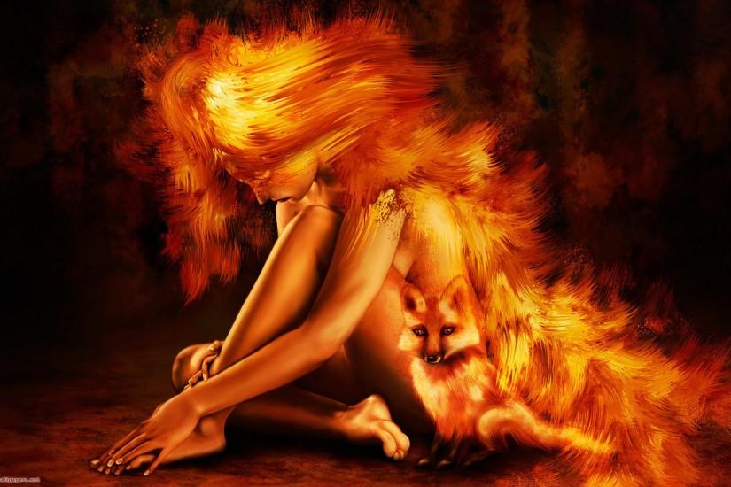 Cool, wallpapers, fire, original, girl, firefox, photo