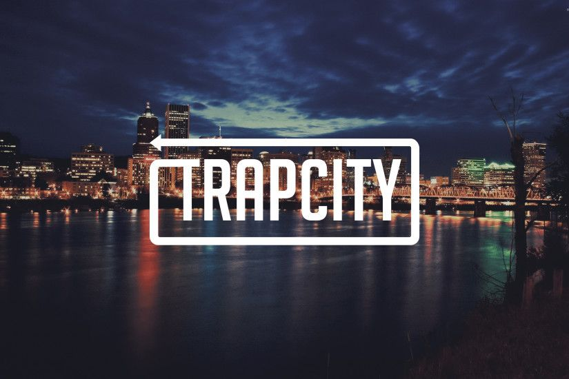Trap City in a cloudy city night wallpaper