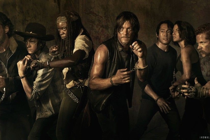 People 2560x1440 The Walking Dead AMC Rick Grimes Carl Grimes Daryl Dixon  Andrew Lincoln Norman Reedus