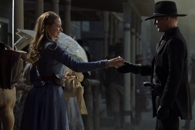 Dolores and Man in Black with milk Westworld