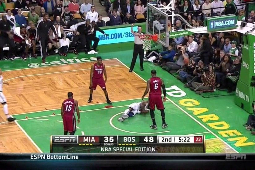 LeBron James MANLY Freight Train Dunk Posterization Over Jason Terry-Heat  vs Celtics 3/18/13