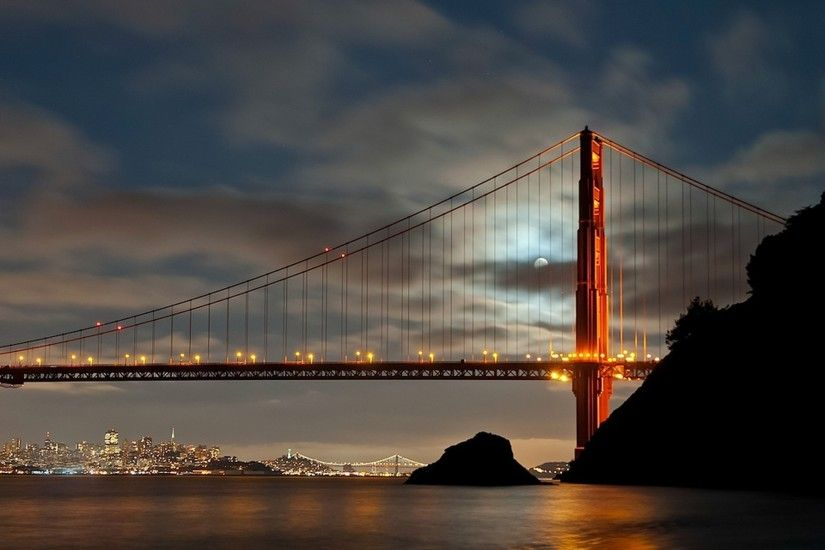 Golden Gate Bridge, San Francisco, Bridge, City, Landscape, Moon Wallpapers  HD / Desktop and Mobile Backgrounds