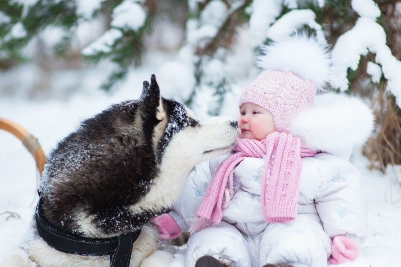 Preview wallpaper husky, dog, child, snow, winter, photo shoot 1920x1080