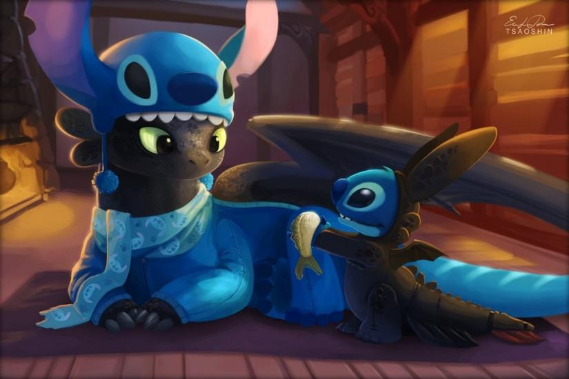 Lilo and Stitch, Dragon, Toothless, How to Train Your Dragon, Stitch  Wallpaper HD