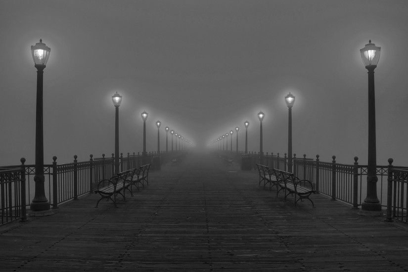 Black And Wallpaper 2560x1440 Black, And, White, Fog, Pier, Lamps