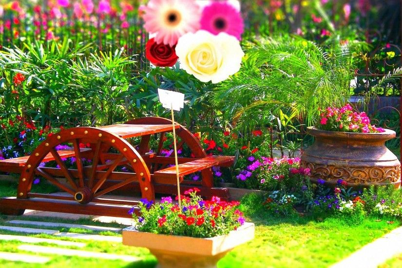 romantic colorful spring garden HD backgrounds - desktop wallpapers