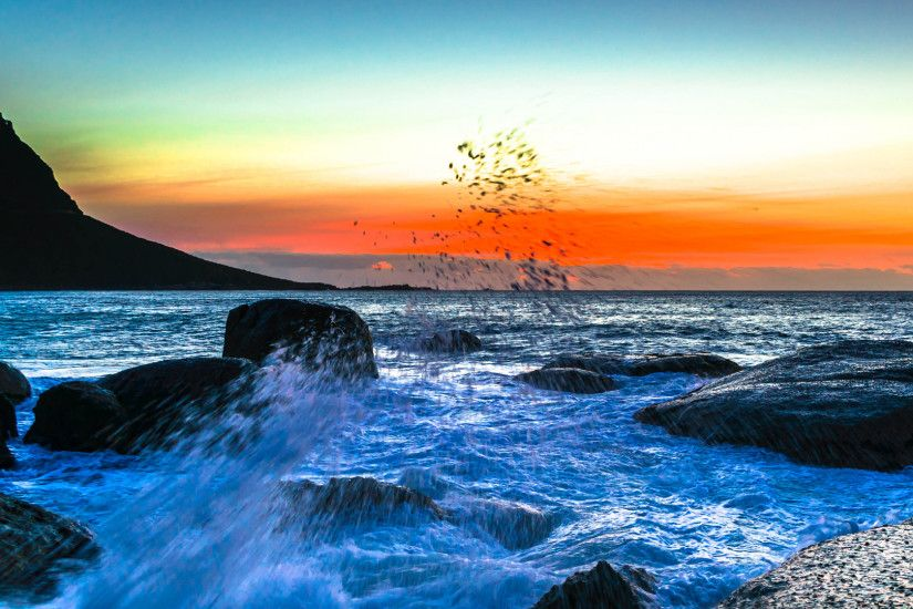 Preview wallpaper sea, spray, surf, sunset 1920x1080