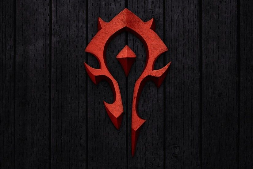 Preview wallpaper world of warcraft, horde, symbol, background, red  1920x1080