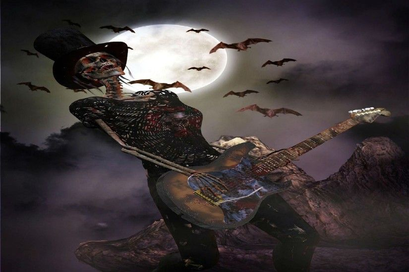 heavy, background,hd abstract wallpapers,death, skull, dark, mobile, evil,  cool images, stock images skeleton, metal, guitar Wallpaper HD