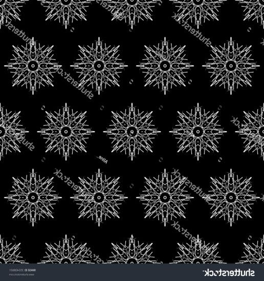 Christmas Snowflakes Vector Pattern Black White: Abstract Christmas  Background Black White Seamless