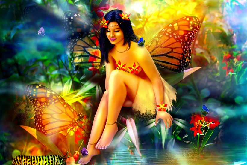 Fairies Fantasy Girls Fairy Butterfly Forest Magical Wallpaper At Fantasy  Wallpapers