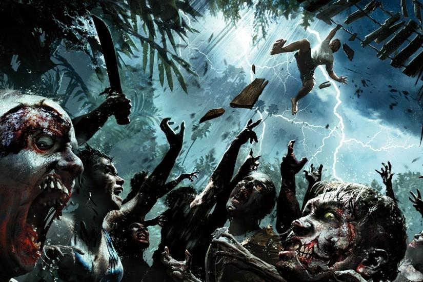 Dead Island Zombies Storm Lightning Machete dark horror wallpaper
