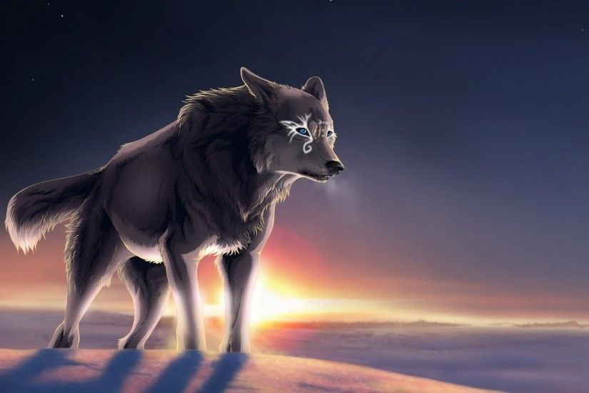 Magical wolf at sunset wallpaper
