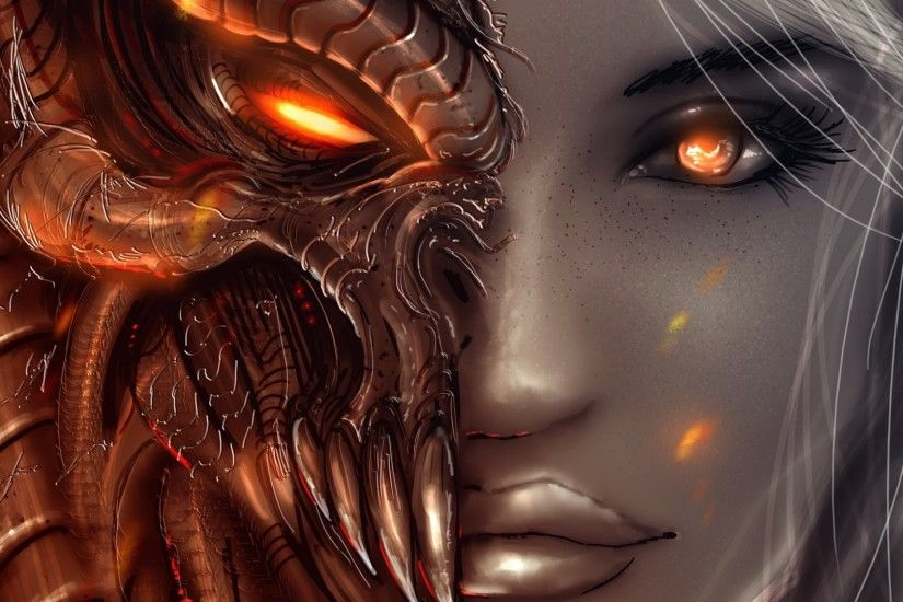 Download now full hd wallpaper starcraft 2 face kerrigan zerg ...