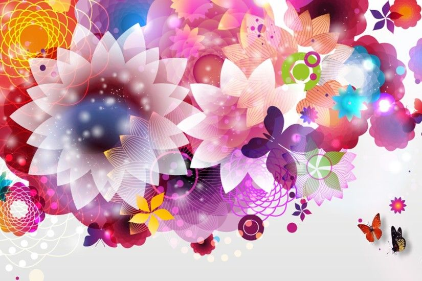 Bright Abstract Flowers Wallpapers 1920x1080px