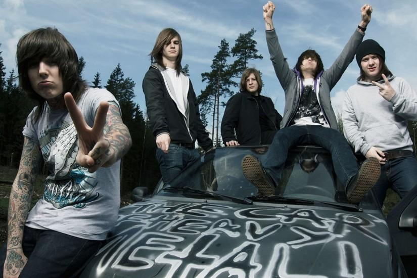 Preview wallpaper bring me the horizon, tattoo, forest, car, hood 1920x1080